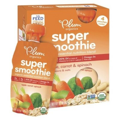 Plum Organics Super Smoothie - Apple, Carrot, & Spinach 16oz (4 Pack)