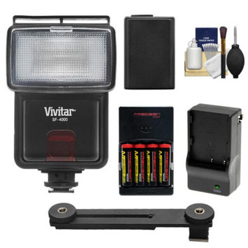 Vivitar SF-4000 Auto Bounce Zoom Slave Flash with Bracket + NP-FW50 Battery + Batteries & Charger + Cleaning Kit for Sony Alpha A7, A7R, A3000, A5000, A6000, NEX-3N, 5T, 6, 7 Digital Cameras