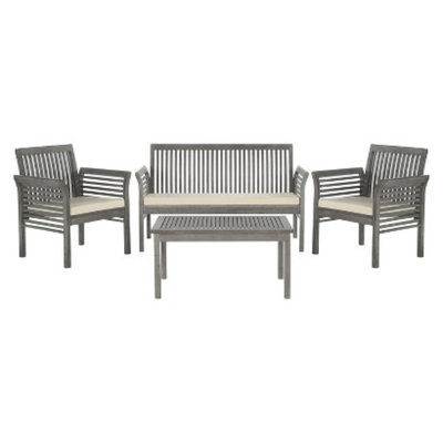 Safavieh Paros 4-Piece Patio Conversation Set - Grey