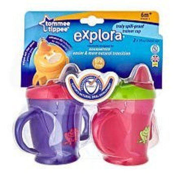 Tommee Tippee 2-Pack Explora Truly Spill Proof Trainer Cup 9oz - 6months and up (Pink & Green)