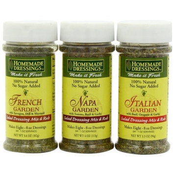 Homemade Dressings Homemade Dressing Mix Variety Pack (French Garden, Napa Garden & Italian Garden), 3.3 to 4-Ounce Containers