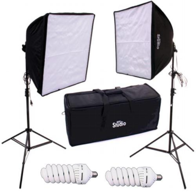 RPS Studio Dual Square Softbox Light Kit with 2 Softboxes, 2 Light Stands & 2 70Watt Lamps Also Includes Carry Case
