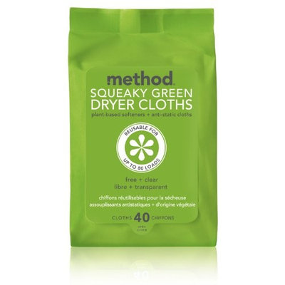 method Squeaky Green Dryer Cloths, Free & Clear, 40 ct
