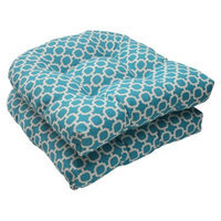 Pillow Perfect Outdoor 2-Piece Wicker Seat Cushion Set - Teal/White Geometric
