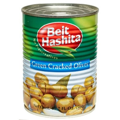 Beit Hashita Green Cracked Olives, 19.7-Ounce (Pack of 6)