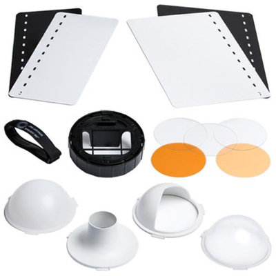 SpinLight 360 EXTREME Modular Flash Diffuser System with 2 Full Domes, 1 Half Dome, Snoot, 4 Bounce Cards Also Includes 3 Gel Disks & 1 1/2 CTO Gels