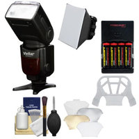 Vivitar Series 1 DF-583 Power Zoom DSLR Wireless TTL Flash (for Nikon i-TTL) with Batteries & Charger + Soft Box + Diffuser Bouncer + Cleaning Kit