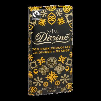 Divine Chocolate 70% Dark Chocolate with Ginger & Orange