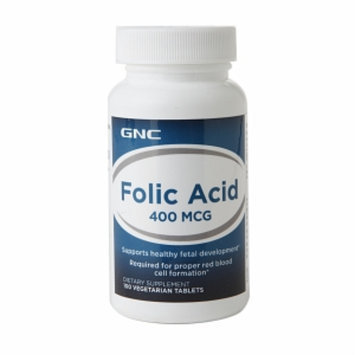 GNC Folic Acid 400mcg, Vegetarian Tablets, 100 ea
