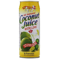 Amy & Brian Natural Coconut Juice with Lime, 12 - 17.5- Ounce Cans