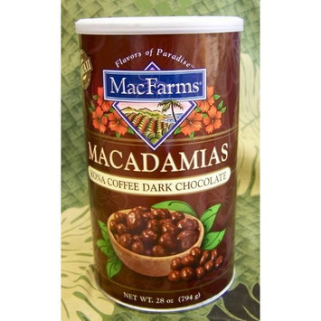 Kona Coffee & Dark Chocolate Macadamia, MacFarms Brand (EXTRA LARGE Container -ALMOST 2LBS TOTAL WEIGHT --28 oz)
