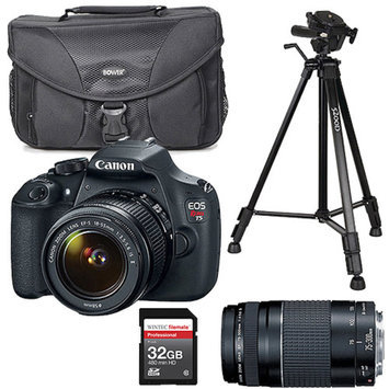Canon Black EOS Rebel T5 Digital SLR Camera, Includes 18-55mm Zoom Lens with Additional Lens, Memory Card, Bag, and Tripod Value Bundle