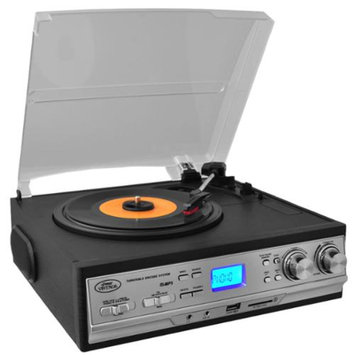 Pyle Classic Retro Style Turntable with AM/FM Radio, Cassette Player & Aux Input For iPod/MP3 Players