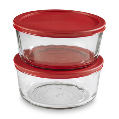 Anchor Hocking Inc 2-Pack 7-Cup Glass Storage Container & Lid