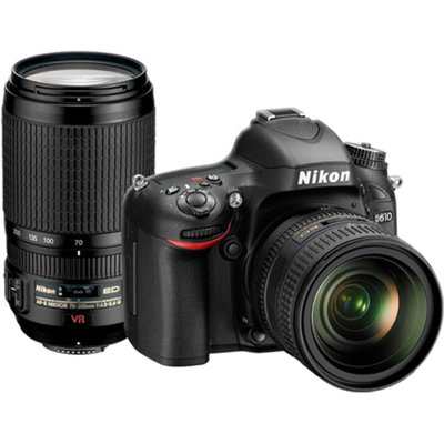 Nikon D610 Digital SLR Camera with 24-85mm & 70-300mm VR Lenses, WU-1b, Bag & 32GB Card