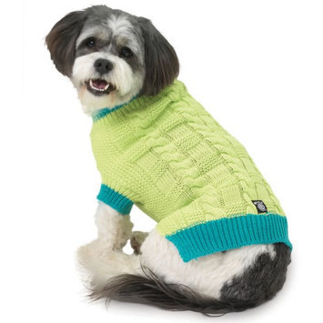 Petrageous Designs Cody's Green Chunky Cable Dog Sweater - Medium