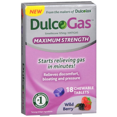 Dulcolax DulcoGas Maximum Strength Wild Berry Chewable Tablets for