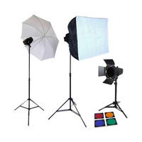 Lumiere L.A. Lumiere L60211 Portable Photo Studio Kit - 3 x 150W Strobe Flash Light, 2 x Soft Light Box, Translucent Umbrella, 4-Colo