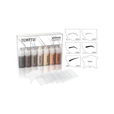 Temptu Eyebrow Kit with 7 Airbrow Colors, 5 Airbrush Stencils, and 1 Shaper