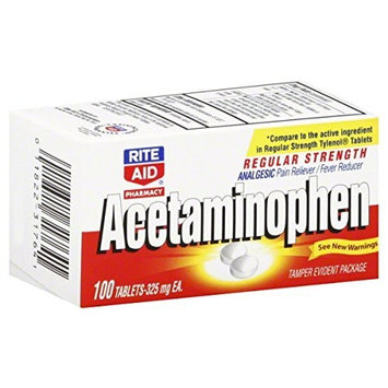 Rite Aid Brand Acetaminophen, Regular Strength, 325 mg, Tablets 100 tablets