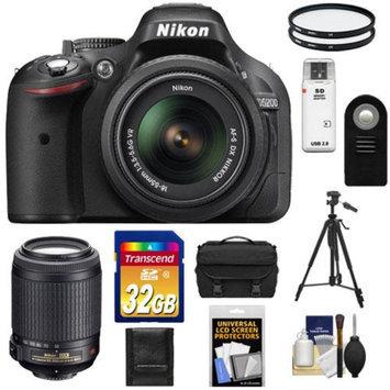 Nikon D5200 Digital SLR Camera & 18-55mm G VR DX AF-S Zoom Lens (Black) with 55-200mm VR Lens + 32GB Card + Battery + Case + Filters + Tripod + Accessory Kit