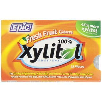Epic Dental 100% Xylitol Sweetened Gum, Fresh Fruit, 12 Count (Pack of 12)