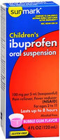 Sunmark Childrens Ibuprofen Oral Suspension, 100 mg, Bubble Gum Flavor 4 oz by Sunmark