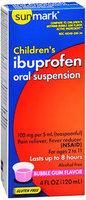 Sunmark Childrens Ibuprofen Oral Suspension, 100 mg, Bubble Gum Flavor 4 oz by Sunmark