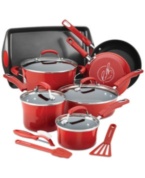 Rachael Ray Hard Enamel Nonstick 14-Piece Cookware Set, Red