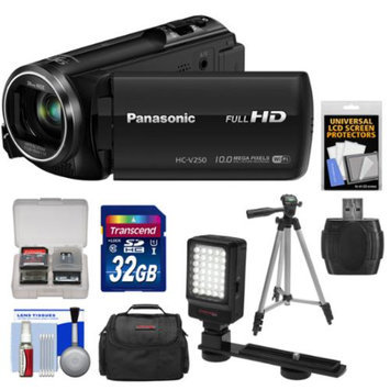 Panasonic HC-V250K HD Wi-Fi Video Camera Camcorder with 32GB Card + Case + LED Video Light + Tripod + Kit