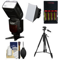 Vivitar Series 1 DF-583 Power Zoom DSLR Wireless TTL Flash (for Canon EOS E-TTL) with Batteries & Charger + Soft Box Diffuser + Tripod + Cleaning Kit