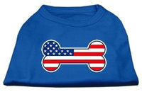 Ahi Bone Shaped American Flag Screen Print Shirts Blue XS (8)