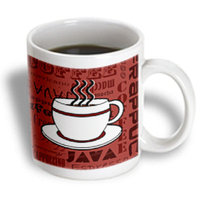 Recaro North 3dRose - Janna Salak Designs Food and Drink - Coffee Lover Gift - Coffee Words Print - Red - 11 oz mug