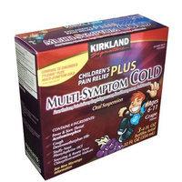 Kirkland Signature Children's Pain Relief Plus Multi-Symptom Cold, 3-4FL OZ bottles total 12 FL OZ (354 ml)