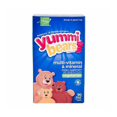 Hero Nutritionals Yummi Bears Multi-Vitamin and Mineral Vegetarian Fruit 90 Gummy Bears