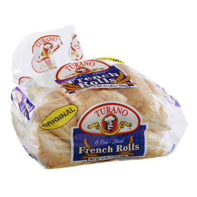 Turano French Rolls Pre-Sliced - 6 CT