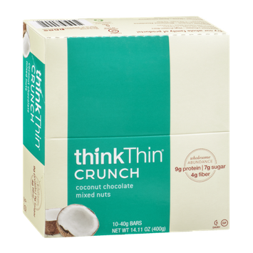 thinkThin Coconut Chocolate Mixed Nuts Crunch Bars