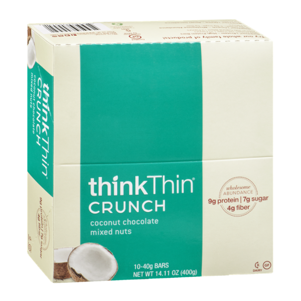 thinkThin Crunch Bars Coconut Chocolate Mixed Nuts - 10 CT