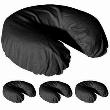 Royal Massage Set of 4 Brushed Flannel Fitted Face Cradle Covers - Black