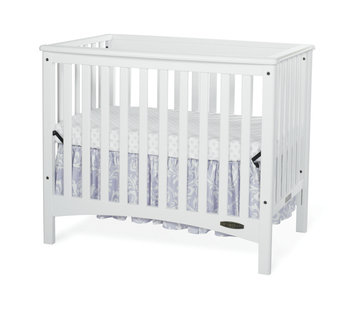 Foundations Worldwide Child Craft London White Euro Mini 2-in-1 Convertible Crib with Mattress