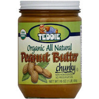 Teddie Organic All Natural Chunky Peanut Butter, 16 oz, (Pack of 12)