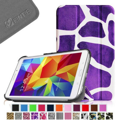 Fintie Smart Shell Case Ultra Slim Lightweight Stand Cover for Samsung Galaxy Tab 4 7.0 Tablet, Giraffe Purple