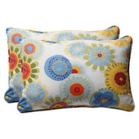 Pillow Perfect Outdoor 2-Piece Rectangular Toss Pillow Set - Blue/White/Yellow