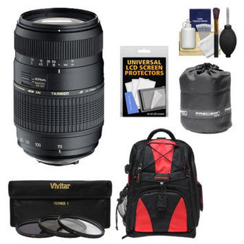 Tamron 70-300mm f/4-5.6 Di LD Macro 1:2 Zoom Lens with 3 UV/CPL/ND8 Filters + Backpack + Pouch + Accessory Kit for Canon EOS 6D, 70D, Rebel T3, T3i, T4i, T5, T5i, SL1 Digital SLR Cameras