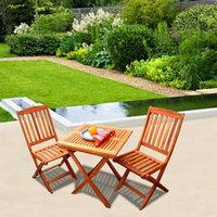 VIFAH Glaser Folding Bistro Set 1 V03 Bistro Table 1 V04 Bistro Chairs, 1 ea