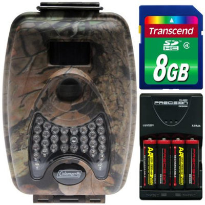 Coleman CH200 Trail Cam Motion Sensor Digital Video Camera with Infrared Night Vision with 8GB Card + Batteries & Charger Kit