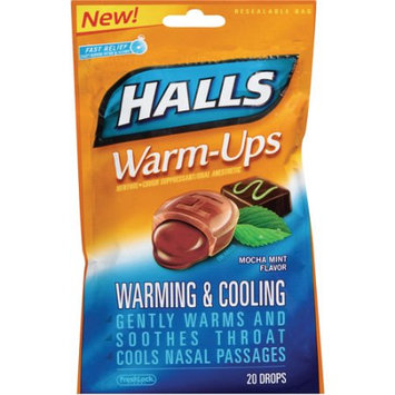 HALLS Warm-Ups Cough Mocha Mint Suppressant Drops