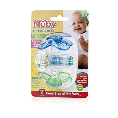 Nuby Brite Combo Pacifier, 6 to 12 Months, Colors May Vary