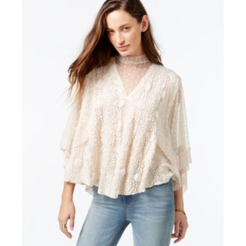 Free People Hard Candy Crochet Contrast Peasant Top