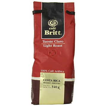 Cafe Britt Costa Rica Light Roast Ground Coffee, 12 Ounce Bag